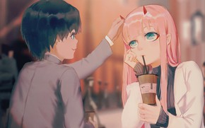 Picture girl, cafe, guy, 002, Darling In The Frankxx, Cute in France, Hiro