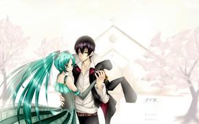 Picture girl, anime, art, pair, guy, Hatsune Miku, Vocaloid, Vocaloid
