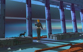 Picture Girl, Night, Figure, Cat, Cat, Style, Window, Art, Art, Style, Characters, Surreal, Science Fiction, Figure, …