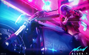 Picture Girl, Style, Girl, Helmet, Bike, Motorcycle, Fantasy, Art, Art, Style, Neon, Concept Art, Equipment, Biker, …