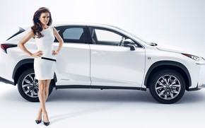 Picture look, Girls, beautiful girl, white car, Lexus NX, posing on the car, Agnieszka Radwanska