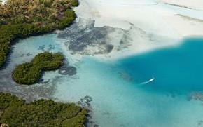 Picture Islands, the ocean, yacht, Mauritius, Mauritius, aerial photography, aerial beach shot