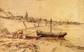 Picture Drawings, Vincent van Gogh, Bank of the Rhone at Arles