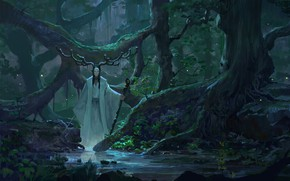 Picture sword, fantasy, forest, rain, horns, trees, weapon, digital art, Druid, artwork, mask, plants, fantasy art, …