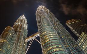 Picture night, the city, building, Malaysia, bottom view, Kuala Lumpur