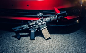 Picture weapons, background, car, assault rifle