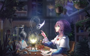 Picture Girl, Butterfly, Flower, Table, Magic