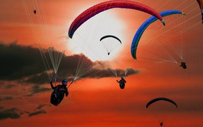 Picture The SKY, The SUN, CLOUDS, PARACHUTIST, WING, PARACHUTE