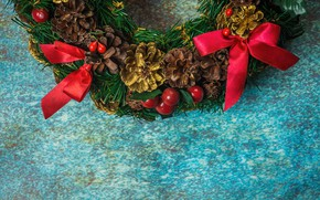 Picture New Year, Christmas, Christmas, wreath, wood, New Year, decoration, wreath, Merry