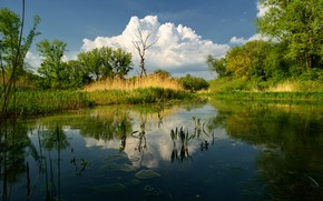 Picture clouds, landscape, nature, Lake