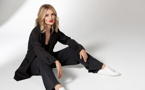 Picture look, girl, pose, model, costume, lips, Rosie Huntington Whiteley