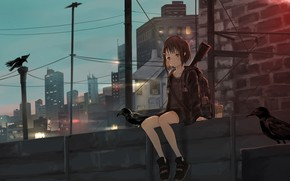 Picture the city, girl, crows