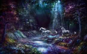 Picture forest, purple, grass, rays, light, trees, flowers, nature, pond, stream, fantasy, lilac, jump, shore, vegetation, …