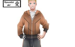 Picture smile, art, white background, guy, Naruto, Naruto, Uzumaki Naruto