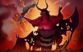 Picture Art, Devil, Illustration, Demon, Characters, Pig, by Alex Mamedes, Alex Mamedes, New King in Hell