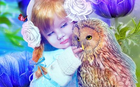 Picture owl, girl, child