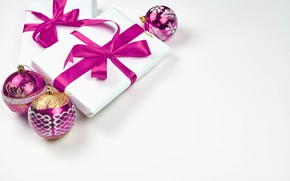 Picture balls, toys, new year, gifts, white background, ribbons, bokeh