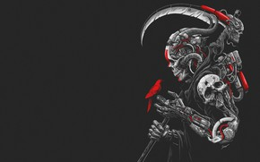 Wallpaper Minimalism, Skull, Robot, Bird, Braid, Art, Cyborg, Cyberpunk, Sony Wicaksana, by Sony Wicaksana, DEATH MACHINE