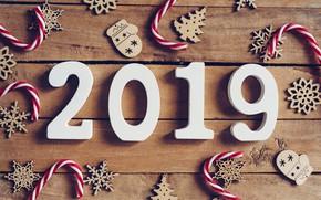 Wallpaper winter, snowflakes, tree, Board, New Year, new year, wood, winter, background, snowflakes, decoration, 2019