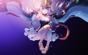 Picture Girl, Purple, Beautiful, Art, Anime, Blue, Altair, Suit, Heels, Hat, Cape, Pretty, Accessories, Character, TROYCA, …