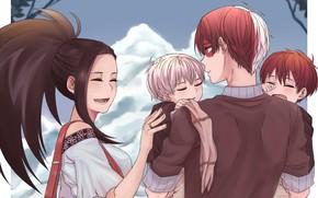 Picture children, anime, family, art, pair, two, Boku no Hero Academy, Todoroki Shoto, My Hero Academy, …