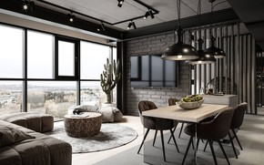 Picture design, style, interior, dining room, lighting, industrial style