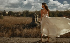 Picture girl, pose, style, the wind, wedding dress, Ivan Kovalev, Катерина Логинова