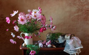 Picture flowers, fabric, shell, pitcher, still life, kosmeya, chest, Мила Миронова
