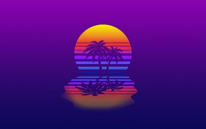 Picture Minimalism, Music, Style, Palm trees, Background, 80s, Style, Neon, Illustration, 80's, Synth, Retrowave, Synthwave, New …