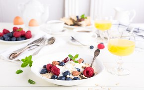 Picture berries, coffee, Breakfast, juice, yogurt, orange, cereal