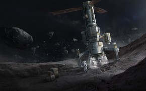 Wallpaper space, Concept Art, Science Fiction, Asteroid