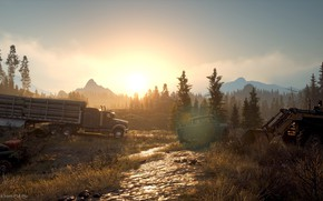 Picture forest, sunset, machine, the game, game, screenshot, Days Gone, action-adventure