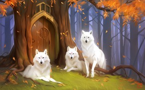 Picture forest, wolf, the door, fantasy, art, Keepers, Alexander Khitrov, Art GaudiBuendia