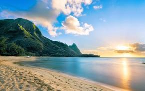 Picture beach, Sea, sunset.