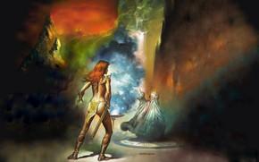 Picture The sorcerer, Red Sonja, Red Sonja, Boris Vallejo, Boris Vallejo, Бронебикини
