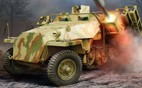Picture Throw frame 40, Ausf.D, Sd Kfz 251, the jet system of volley fire, German heavy …