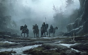 Picture Fog, Forest, Horse, Winter, Landscape, Snow, War, Viking, Viking, Vikings, The Vikings, Riders, Environments, Sergey …