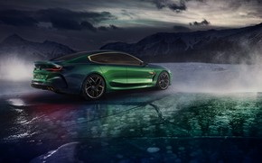 Wallpaper ice, BMW, back, coupe, 2018, side, M8 Gran Coupe Concept, mountains, clouds