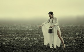 Picture girl, braids, in the field, arable land, Assaf Lazar