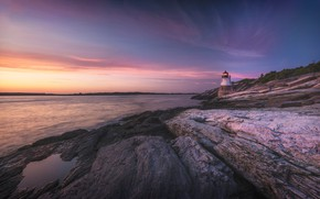 Picture the sky, sunset, stones, rocks, shore, lighthouse, the evening, lilac