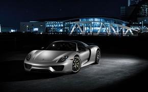 Picture Auto, Night, Porsche, Machine, Grey, Car, 918, Rendering, Porsche 918, Transport & Vehicles, Sergey Poltavskiy, …