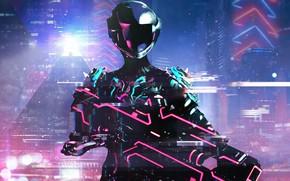 Wallpaper Art, Neon, Warframe, Cyber, Cyberpunk, Retrowave, Warframe Retrowave