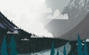 Picture Mountains, Fog, River, Landscape, Art, Tree, Trees, Cartoon, Environment, by Andrey Syailev, Andrey Syailev, Fog2