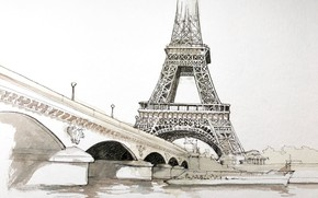 Picture figure, Paris, watercolor, Eiffel tower, the urban landscape, Jena bridge