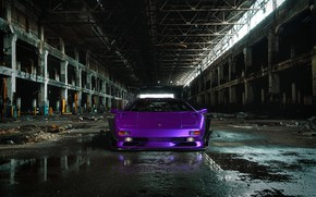 Picture Auto, Lamborghini, Machine, Car, Purple, Car, Render, Diablo, Rendering, The front, Sports car, The room, …