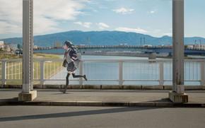 Picture girl, bridge, schoolgirl, runs, school uniform