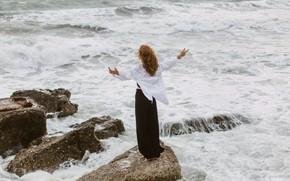 Picture sea, girl, pose, stones, the wind, back, shirt, Juliana Mizinova