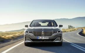 Picture road, machine, asphalt, markup, hills, lights, grille, BMW 7 Series, G12, G11, facelift, 750 Li