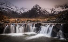 Picture autumn, mountains, rocks, shore, waterfalls