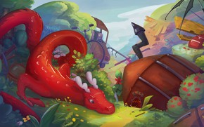 Picture dragon, fantasy, art, house, children's, Guardians of the Sacred Forest barrier, Something there?